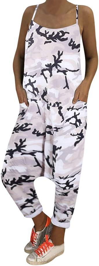 Imagen deHCFKJ Monos Mujer Verano Mujeres Imprimir Camuflaje Monos Sueltos Mamelucos Cuello Pico Pantalones HaréN Deporte
