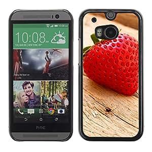 Be Good Phone Accessory // Dura Cáscara cubierta Protectora Caso Carcasa Funda de Protección para HTC One M8 // Fruit Macro Wood Strawberry