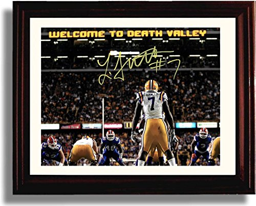 Framed Lsu Tigers Leonard Fournette  Welcome To Death Valley  Autograph Replica Print