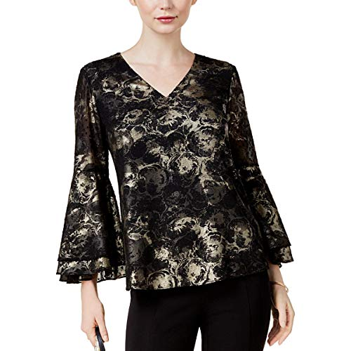 Alfani Womens Foil Bell Sleeves Pullover Top , Large , Deep Black  from Alfani