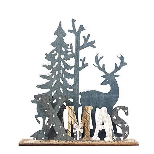 Gotian Cute Hanging Wooden Elk Xmas Tree Pendants Ornament Festival Home Decor (A) from Gotian