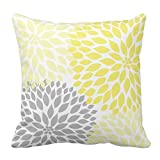 Yellow and Gray Dahlia Flowers Throw Pillow Case Soft Cushion Cover Home Sofa Decorative Square 18 x 18 Inches(Satin Fabric)
