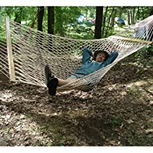 Rope Double Hammock - Made to WITHSTAND THE ELEMENTS and Accommodates 2 Adults - 100% POLYESTER FABRIC with 2 Pack ECO FRIENDLY Nylon Hammock Tree Straps and Hanging Hardware INCLUDED