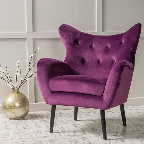 Modern Wing Chairs - Modern Wingback Armchair - Tufted Back Living Room Velvet Upholstered Accent Chair for Living Room, Guest, Reception and More (Purple)