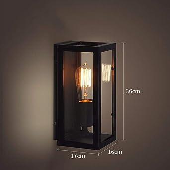BOOTU lámpara LED y luces de pared Loft, retro iluminación industrial, escaleras, Bar, dormitorio, hierro, apliques de pared,16 * 36cm.: Amazon.es: Iluminación