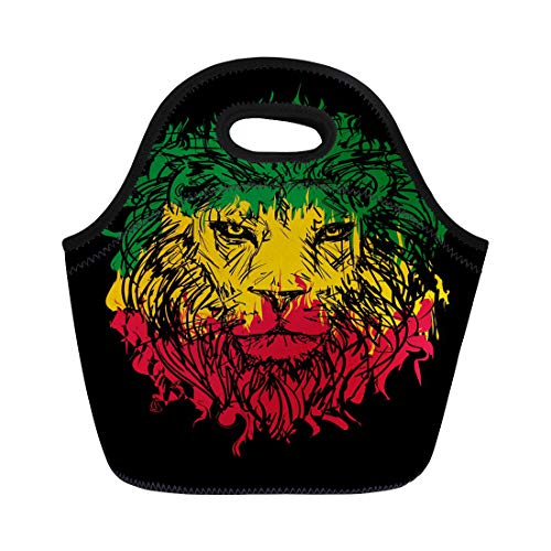 Semtomn Lunch Tote Bag Green Marley Rasta Lion Head on Red Reggae Bob Reusable Neoprene Insulated Thermal Outdoor Picnic Lunchbox for Men Women