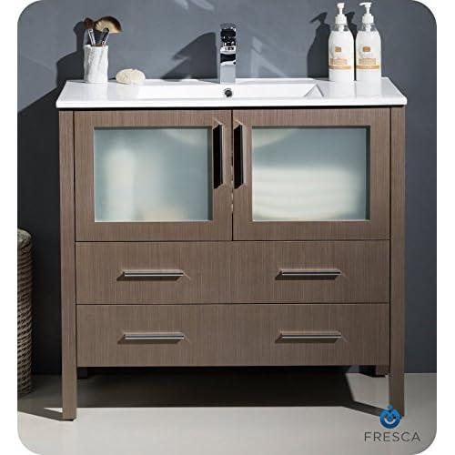 "Fresca FCB6236GO-CMB-U Torino 36"" Gray Oak Modern Bathroom Cabinet with Integrated Sink on sale"