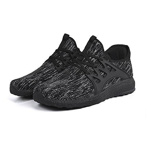 Feetmat Womens Sneakers Ultra leichte atmungsaktive Mesh-athletische Laufschuhe Plus Größe Grau schwarz