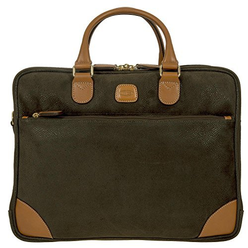 - Bric's Life Business Tablet Small Laptop Briefcase, Olive