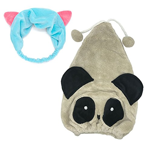 Manc GG Cute Panda Microfiber Hair Dry Cap Super Absorbent Hair Drying Towels Wrap Shower Hat for Bath Spa Cat Ears Headband Plush]()