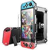 Pakesi Case for Nintendo Switch, Compatible with Nintendo Switch Case and Tempered Glass Screen Protector (360 Degree Full Enclosure Protection)-Clear