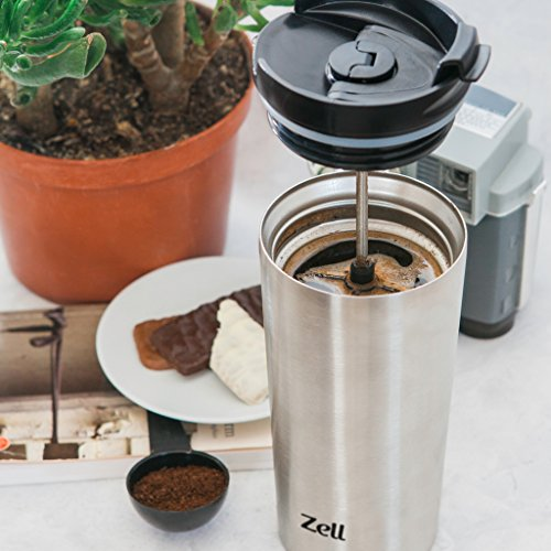 Coffee Maker Keeps Coffee Hot : Zell Vacuum Insulated French Press Mug for Tea & Coffee Stainless Steel Double Walled Travel ...