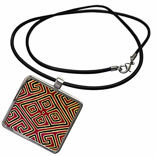 Kuna Mola Panama (3dRose Danita Delimont - Panama - Panama, San Blas Islands, Kuna Indian mola - SA15 CMI0359 - Cindy Miller Hopkins - Necklace With Rectangle Pendant (ncl_86905_1))