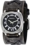 Nemesis #FXB066K Men's Dark Gray Black Dial Wide Leather Cuff Band Watch