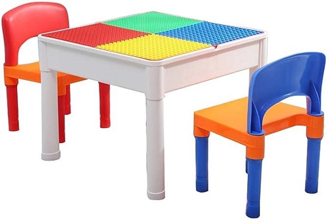 Folding table and chair Mesa De Estudio Multifuncional para NiñOs, Mesa De Juego De Juguete para Bebé De 1 A 8 AñOs con Dos Sillas: Amazon.es: Hogar