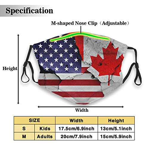 Protective Dust Mask, Activated Carbon Filter Mask, Flags USA Canada Cracked Wall Dustproof Safety Mask for Adults Kids