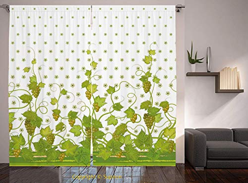 Living Room Bedroom Window Drapes/Rod Pocket Curtain Panel Satin Curtains/2 Curtain Panels/84 x 84 Inch/Grapes Home Decor,Flowers Cluster Sherry Leaf Province Garden Retro Refreshing Tasty Countryside from YOLIYANA