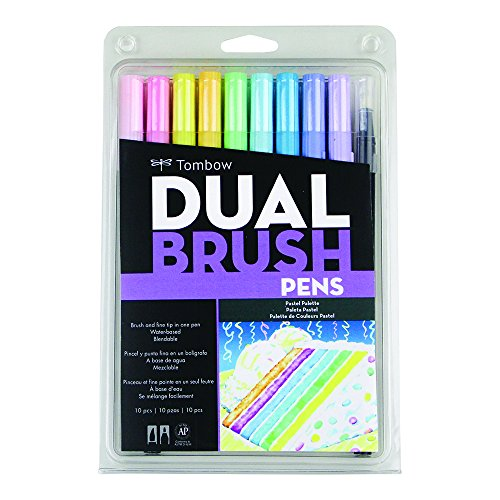 Cute Pastel (Tombow 56187 Dual Brush Pen Art Markers, Pastel, 10-Pack. Blendable, Brush and Fine Tip Markers)