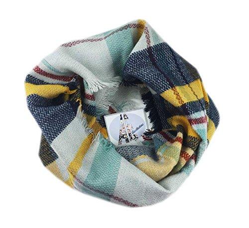 Aesthetinc Classic Multi Color Plaid Frayed Design Infinity Knit Scarf Wrap (Mustard/Mint) by Aesthetinc