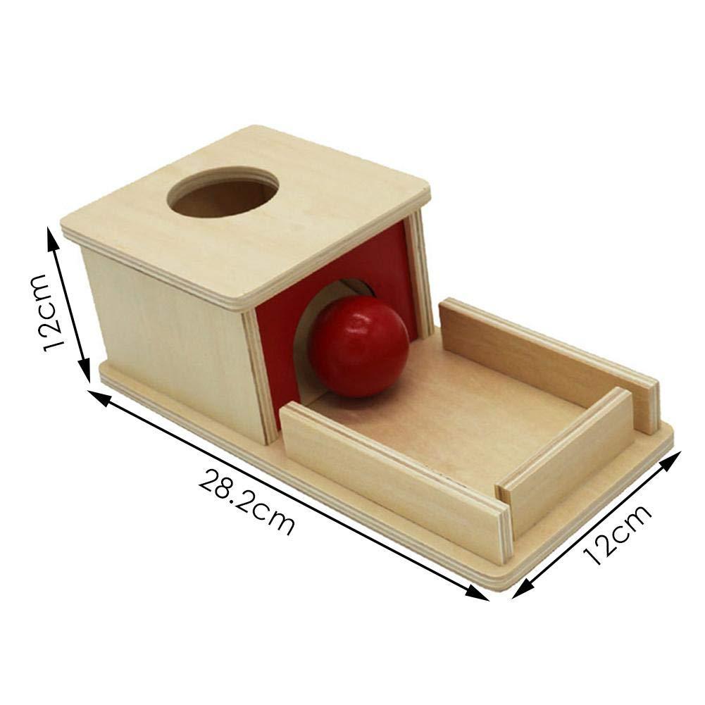 Letway Montessori Materials Bo/îte de Permanence dobjet avec Plateau et Ballon pour Tout-Petits Adorable