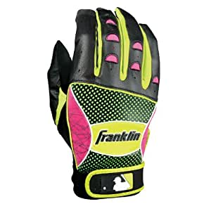 Franklin Sports MLB Youth Shok-Sorb Neo Series Batting Gloves, Black/Neon Pink/Optic Yellow, Medium