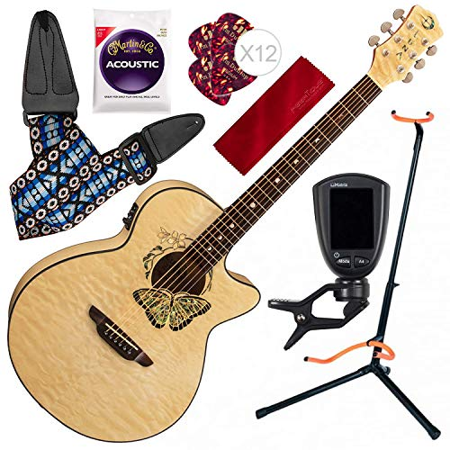 (Luna Fauna Butterfly Quilt Maple Acoustic-Electric Guitar with Guitar Stand and Accessory Bundle)