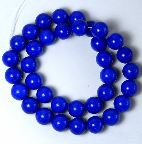 Mountain Jade Beads (Lapis Blue Mountain Jade Dyed Dolomite Marble Gemstone 12mm Round Beads 15 Inch Loose Strand Approx 33-34 Beads a Grade)