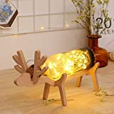 Gaddrt Xmas Elk LED Glass Bottle Wooden Base Illusion Night Switch Button Control Table Light Lamp Gift (Brown)