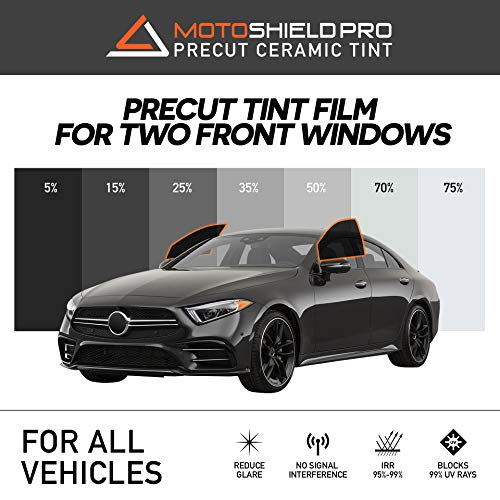 MotoShield Pro Precut Ceramic Tint Film [Blocks Up to 99% of UV/IRR Rays] Window Tint for All Vehicles - Front 2 Windows Only, Any Tint Shade