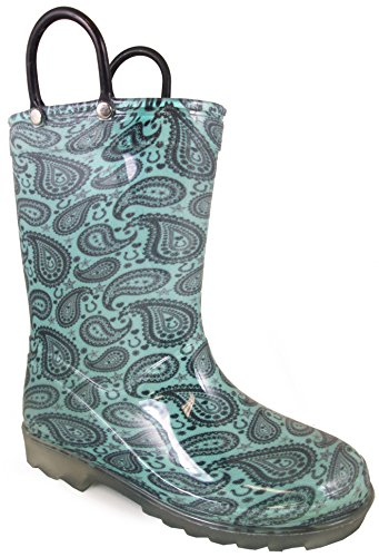 Blue Mountain Rain Boot (Smoky Mountain Children's Lightning Rubber Round Toe Rain Waterproof Turquoise PVC Boots 2M)