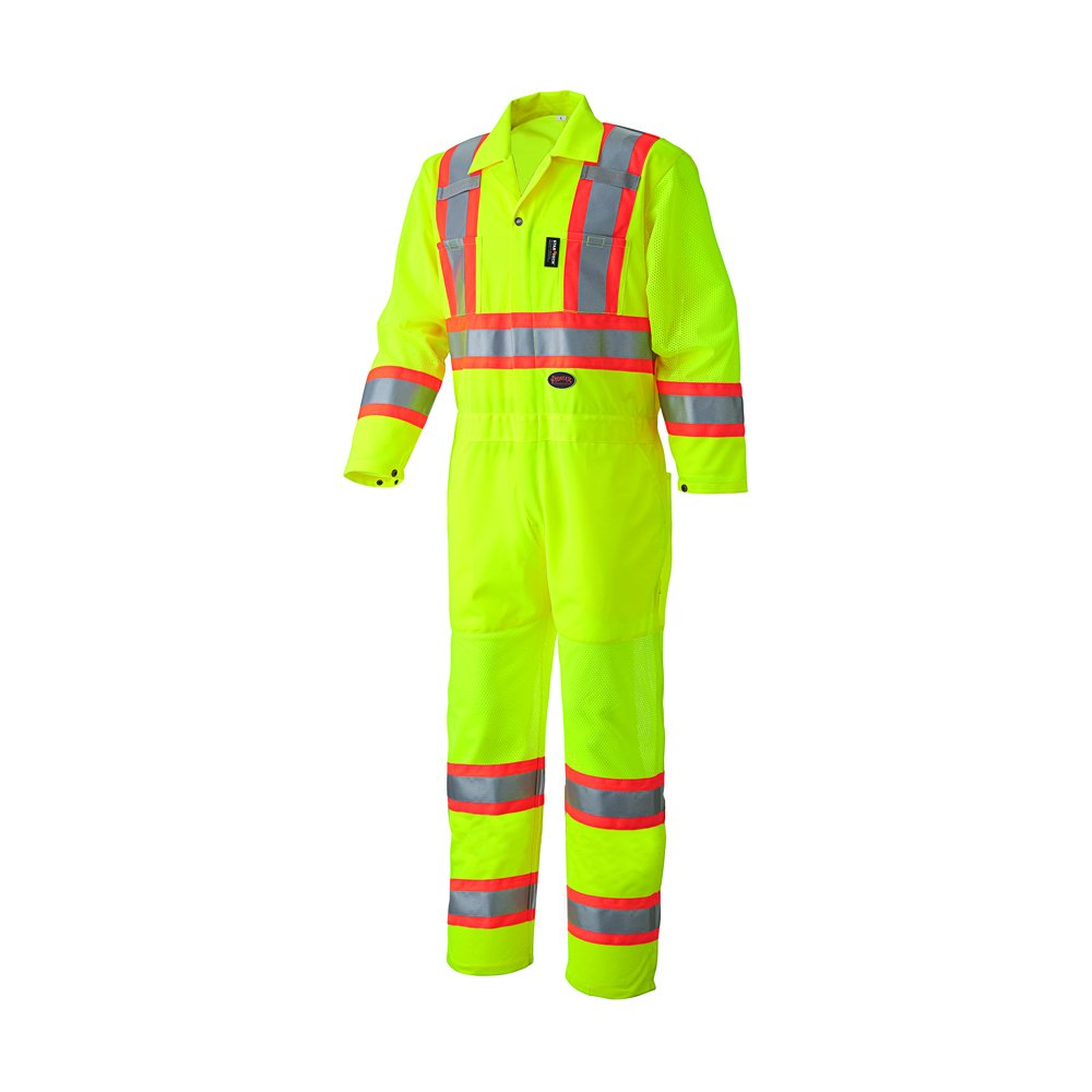 Small Yellow//Green Pioneer V1070161U Hi-Vis Traffic Safety Coverall