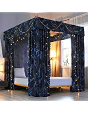 Mengersi 4 Corners Post Bed Curtain Canopy Windproof Lightproof Bed Canopy Mosquito Net Bedroom Decoration for Adults Girls Bed Canopies Child Gift