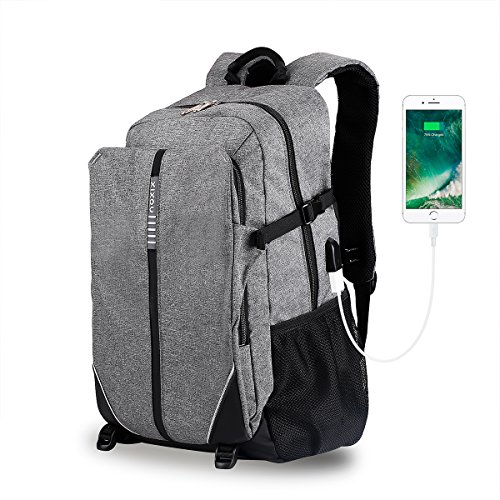 Laptop Backpack, XIXOV Water Resistant Business Backpack with USB Charging Port Under 17-Inch Laptop and Notebook, Grey