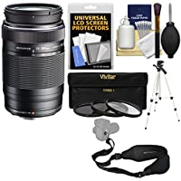 Olympus M.Zuiko 75-300mm f/4.8-6.7 II MSC ED Digital Zoom Lens (Black) with 3 UV/CPL/ND8 Filters + Tripod + Sling Strap + Cleaning Kit