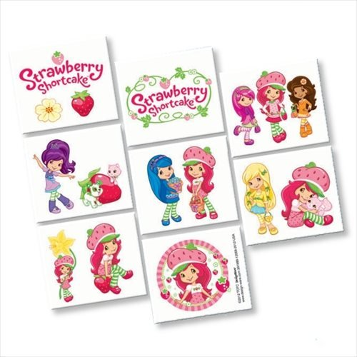 amscan Pretty Strawberry Shortcake Birthday Party Tattoo Favors (16 Pack), 2