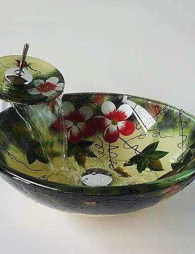 Blume Runde gehärtetes Waschbecken aus Glas mit Wasserfall Wasserhahn, Pop - up abtropfen lassen und Montagering