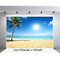 7x5 ft Beach Photo Backgrounds Coconut Trees Blue Sky White Clouds Wrinkle free Sea Photography Backdrops wd691d