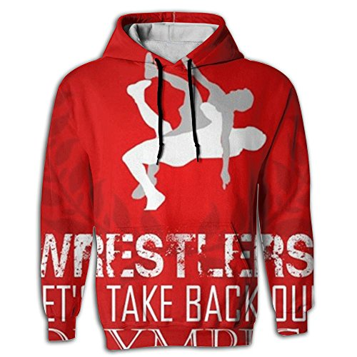 Men's Hoodie Fit Pullover Printed US Wrestling Sign Jogger by Paskcc