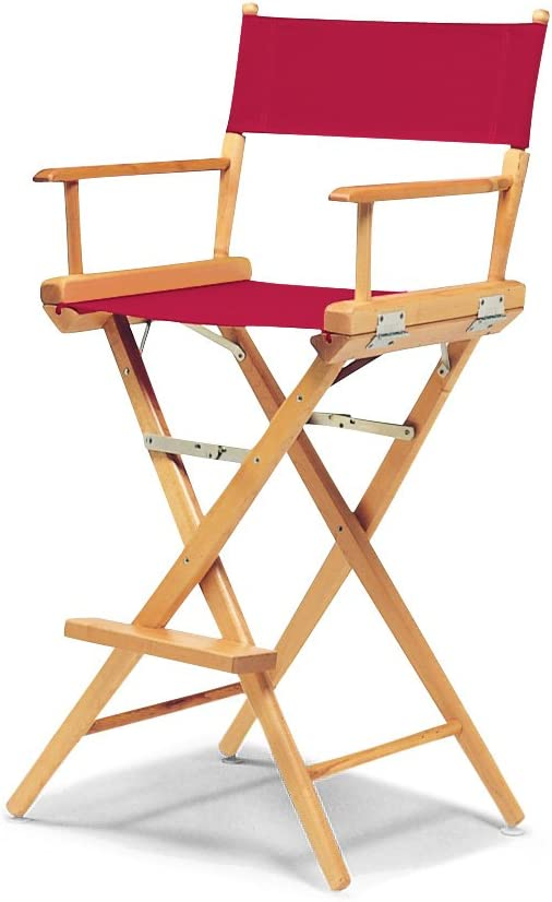 Telescope Casual World Famous Bar Height Director Chair, Red with Varnish Frame
