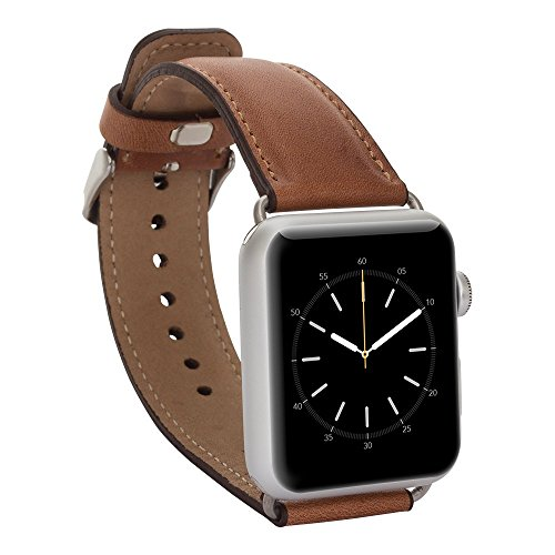 Solo Pelle Apple Watch Series 1  2 Band, Top-grain Leather Band Strap with Stainless Metal Clasp for Apple Watch Series 1  2 Handmade (38mm Cognac B…