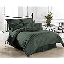 Casa Copenhagen Exotic Collection 800 Thread-Count Egyptian Cotton 3 pieces King Duvet Cover Set, Olive Green