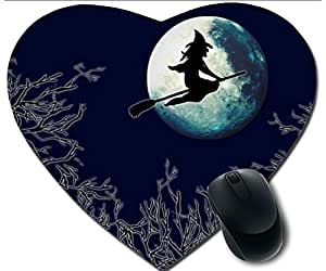 Hot Heart-Shaped Comfortable Mouse Pad - Customizable Printed On Sweeping The Halloween Witches Fly Over The Moon Durable Cool Game Mouse Pad
