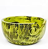 Exquisite Premium Yarn Ball Storage Bowls | Hand Painted Lovely Decor Yet Functional Yarn Dispenser (Large ( 7 x 4 x 7 Inches), Ambush Green)