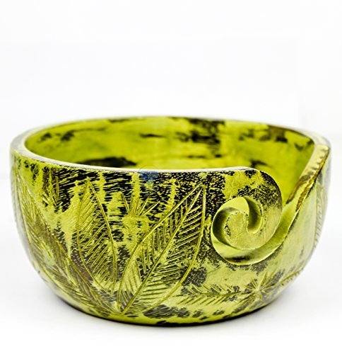 Exquisite Premium Yarn Ball Storage Bowls | Hand Painted Lovely Decor Yet Functional Yarn Dispenser (Large ( 7 x 4 x 7 Inches), Ambush Green) by Nagina International