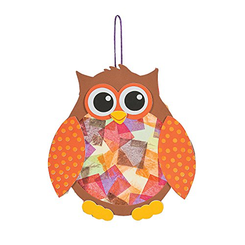 Fun Express - Tissue Acetate Owl CK-12 for Fall - Craft Kits - Hanging Decor Craft Kits - Tissue Paper Crafts - Fall - 12 Pieces