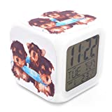 BoFy Led Alarm Clock Silky Terrier Dog Puppy Pattern Personality Creative Noiseless Multi-functional Electronic Desk Table Digital Alarm Clock for Unisex Adults Kids Toy Gift