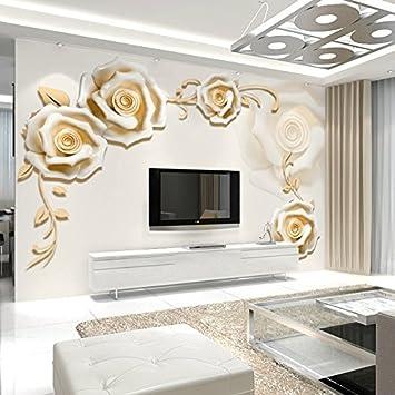 PEIWENIN-3D moderne Rose Muster Tapeten Wohnzimmer Sofa TV ...