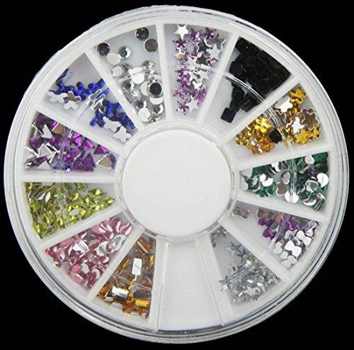 1 Sets Outstanding Popular 3D Nail Art Wheel Glitters Decoration Non-Toxic Full Design Random Mix Model #06