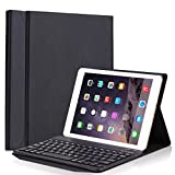Keyboard Case for 2017 iPad 9.7, PU Leather Smart Case Stand Folio Cover with Detachable Wireless Bluetooth Keyboard for Apple ipad pro 9.7/2017new ipad/ipad air/ipad air 2(Black)