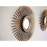 Homezone 3Pc Shabby Chic Rotondo a Raggiera Muro Specchi in Decapé Oro o Argento, Decorativo da Parete Decorazione Casa Shabby Chic - Dorato